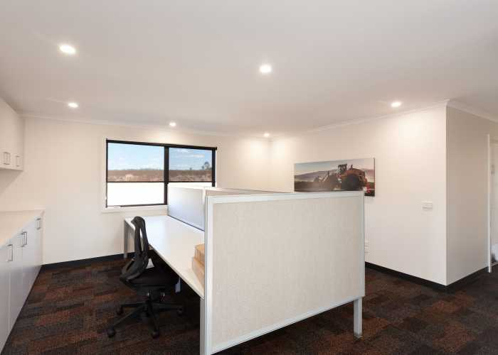 Open plan modular office with carpet tiles