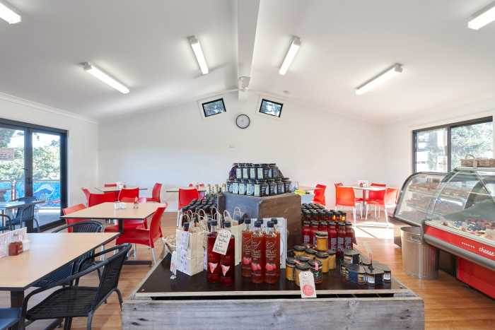 Hillwood cafe in Tasmania with raked ceiling