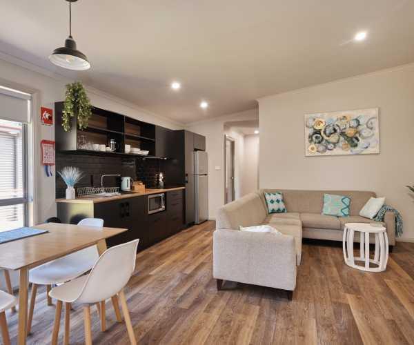 Accomodation open plan kitchenette living area